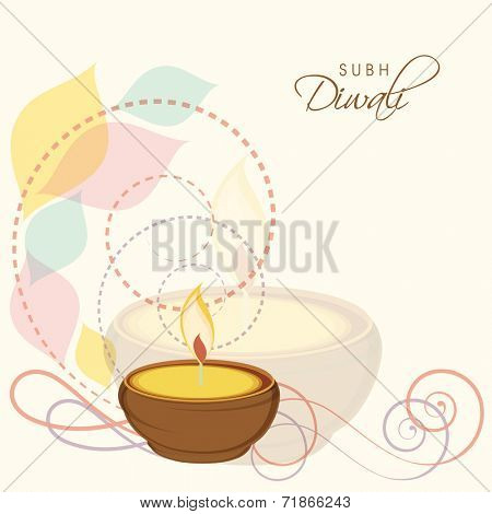 Beautiful illuminated oil lit lamp on colorful floral design decorated background for Hindu community festival Happy Diwali celebrations.