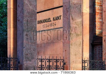 KALININGRAD, RUSSIA - July 26, 2014: Tomb Of German Philosopher Immanuel Kant At Sunset