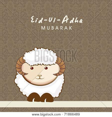 Muslim community festival of sacrifice Eid-Ul-Adha greeting card design with sheep on seamless floral decorated background.