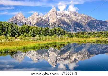 Grand Teton Mountains Landscape View With Water Reflection, Usa