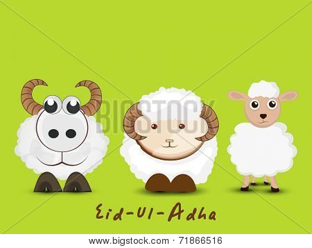 Muslim community festival of sacrifice Eid-Ul-Adha greeting card design with sheep's.