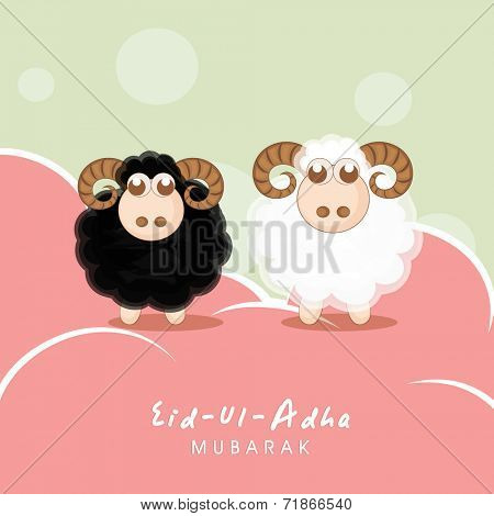 Muslim community festival of sacrifice Eid-Ul-Adha greeting card design with sheep's on creative colorful background.