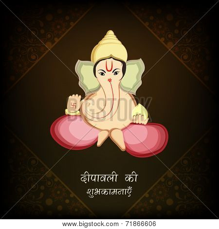 Illustration of Hindu mythological Lord Ganesha with wishes on floral decorated brown background for Happy Diwali celebrations.