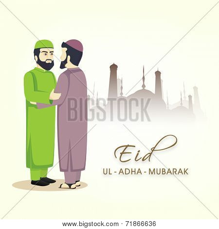 Young religious Muslim men in traditional clothes and hugging and wishing to each other on the occasion of Eid-Ul-Adha festival.