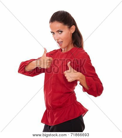Charming Latin Female With Thumbs Up