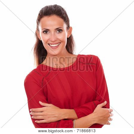 Satisfied Hispanic Woman With Crossed Arms