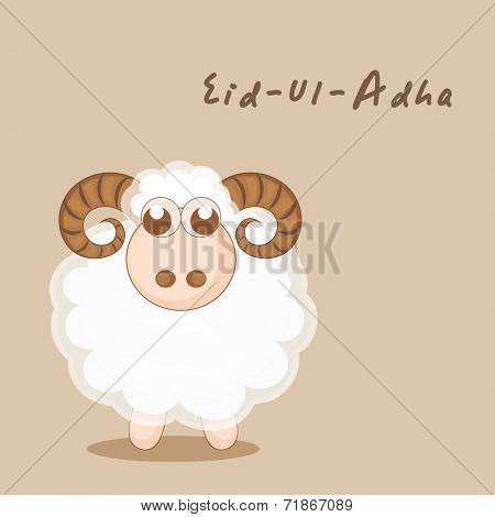Muslim community festival of sacrifice Eid-Ul-Adha greeting card with sheep.