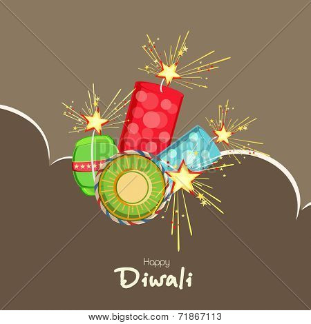 Happy Diwali festival celebration concept with fire crackers explosion on brown background.
