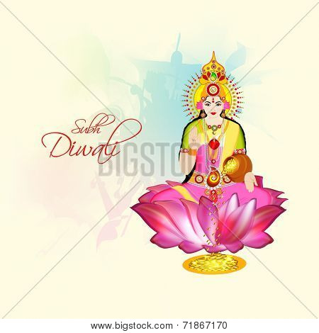 Hindu mythological Goddess Laxmi giving blessings on occasion of Hindu community festival Diwali celebrations.