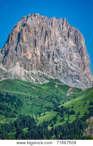 Sass Pordoi South Face (2952 M) In Gruppo Del Sella, Dolomites Mountains In Alps