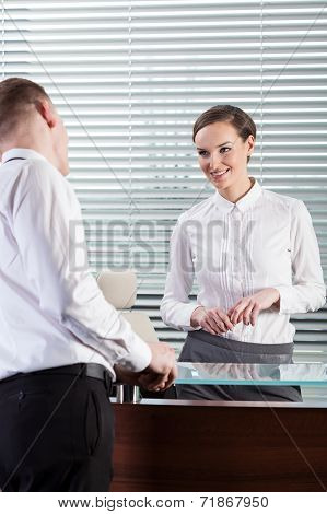 Attractive Woman Talking With Her Co-worker