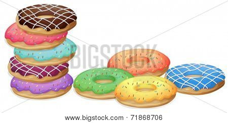 Illustration of colourful donuts