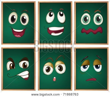 Illustraion of chalckboard with expressions