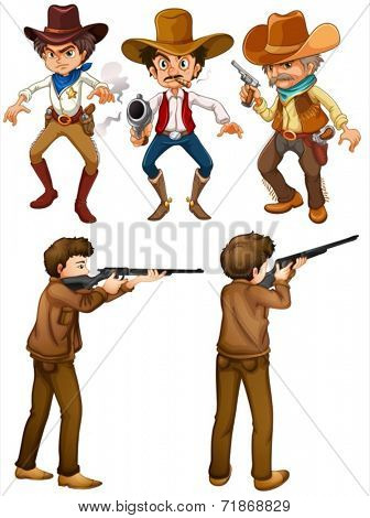 Illustraion of cowboys and hunters