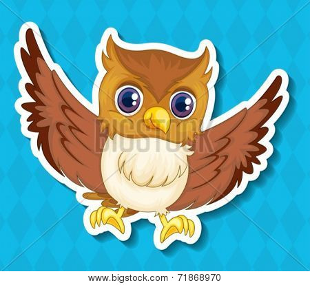 Illustraion of a single owlet with blue background