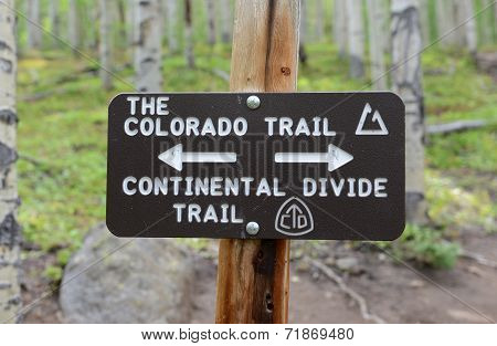 Colorado Trail sign in the wilderness, Rocky Mountains, Colorado