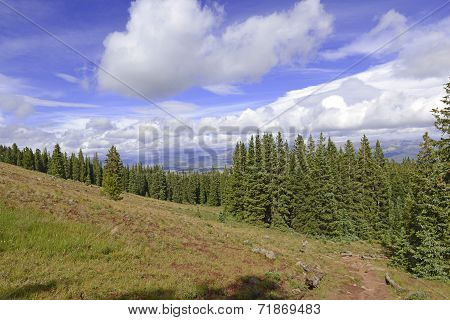 Alpine tundra with Autumn colors in the mountains