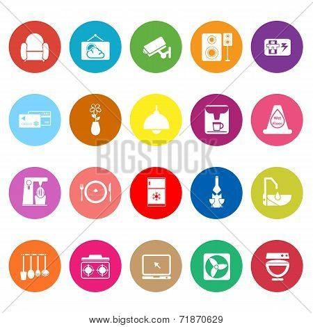 Cafe And Restaurant Flat Icons On White Background