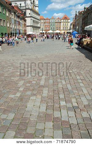 Cobblestone On Marketplace In Poznan