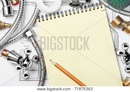 Plumbing And Tools With A Notebook