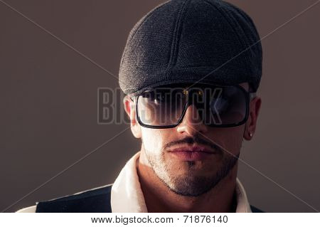 Portrait male model wearing a beret