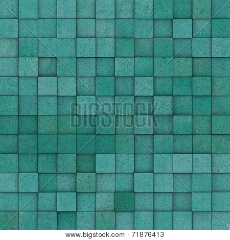 Square Mosaic Tiled Yellow Blue Green Grunge Pattern