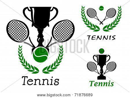 Tennis sporting emblems set