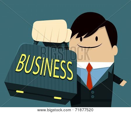 Businessman face smile and Showing Bag - text