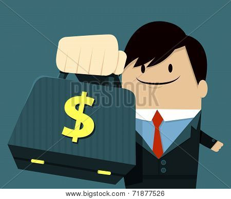 Businessman face smile and Showing Bag - dollar sign