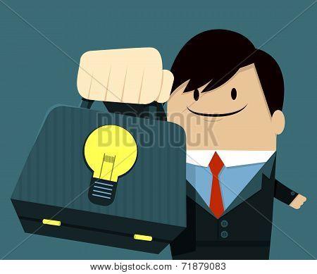 Businessman face smile and Showing Bag-Light Bulb