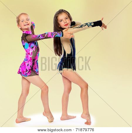 Charming young girl gymnasts posing tracksuits.group of children