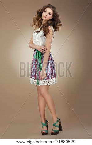 Sentimentality. Elegant Cute Female In Stylish Dress