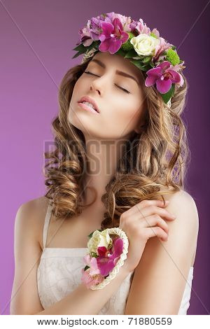 Sentiment. Imaginative Woman With Bouquet Of Flowers Dreaming. Femininity