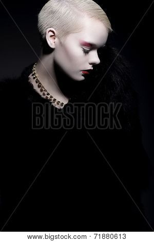 Elegance. Aristocratic Trendy Woman In Fur Coat With Bob Hairstyle