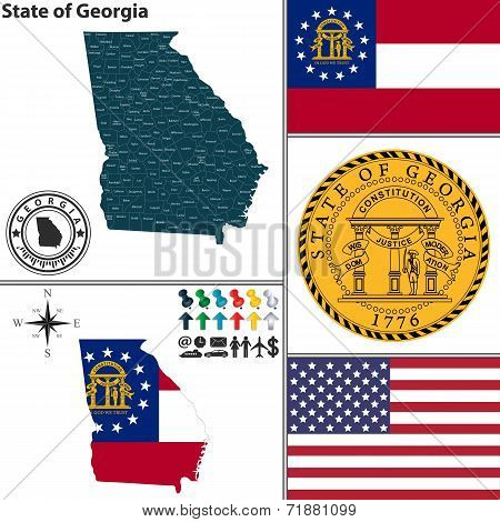 Map Of State Georgia, Usa