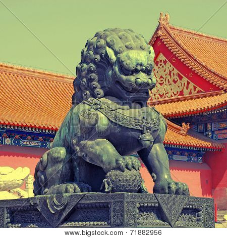 Bronze Lion - Detail In The Forbidden City In Beijing, China