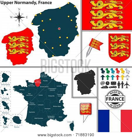 Map Of Upper Normandy, France