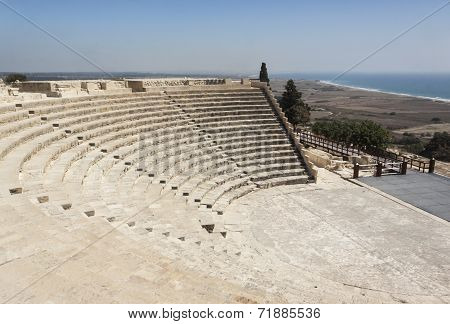 Ancient amphitheatre in the Roman city of Kourion in Cyprus