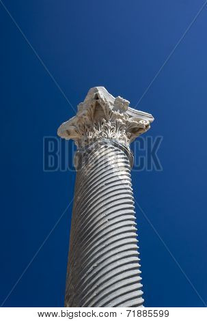 Ancient column from the Roman city of Kourian in Cyprus