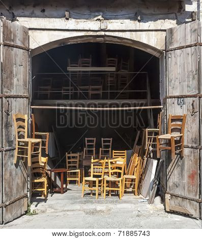 traditional Cypriot wooden chairs in a workshop