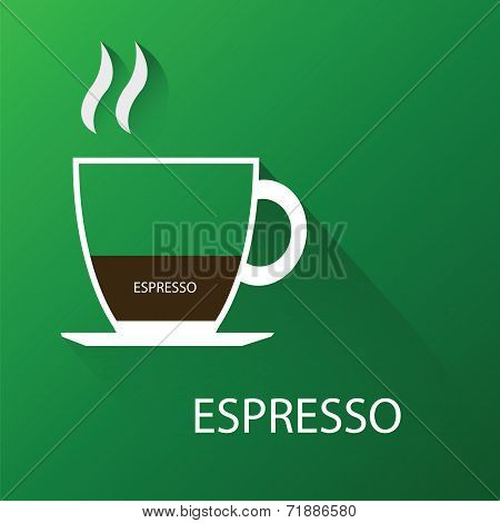 Type of coffee espresso coffee. Vector illustration