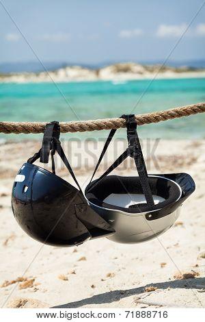 Helmets on the beach.