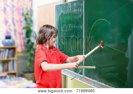 School Child At Math Class