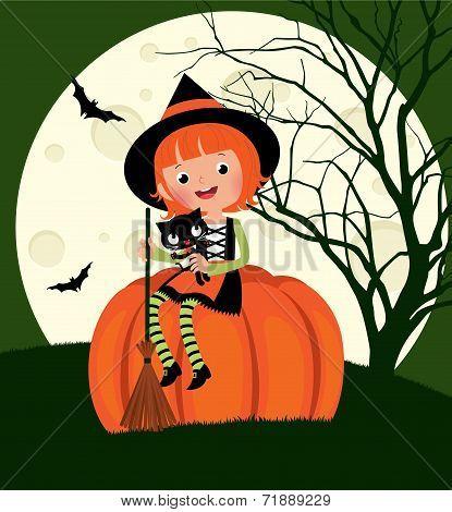 Halloween Witch Sitting On A Pumpkin