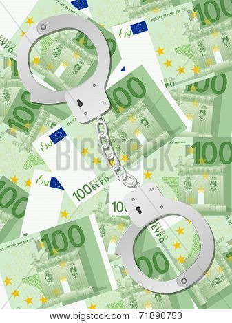 Handcuffs On One Hundred Euro Background Vertical