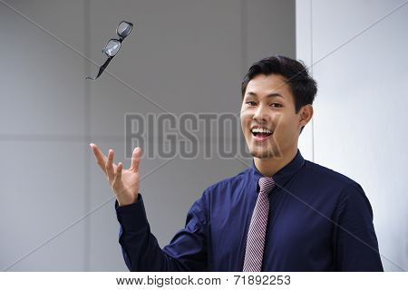 Asian Business Man Throwing Eyeglasses Glasses Eyesight