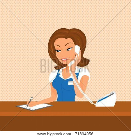 Female receptionist is taking a call