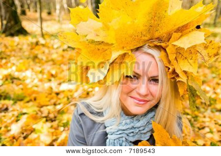 Woman In Maple Garland