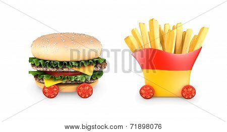 Hamburger with steaks, salad, cheese,fries, cherry tomatoes