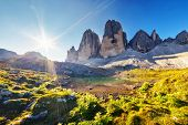 picture of south tyrol  - Great view of the sunny Lago Rienza  - JPG